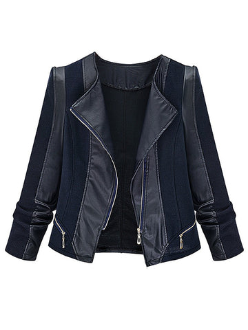 Casual Plus Size Black PU Patchwork Long Sleeve Zipper Jacket