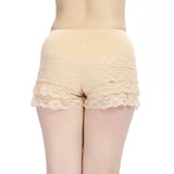 Women Sexy Lace Breathable Modal Boyshorts Elastic High Waist Safety Shorts Panties