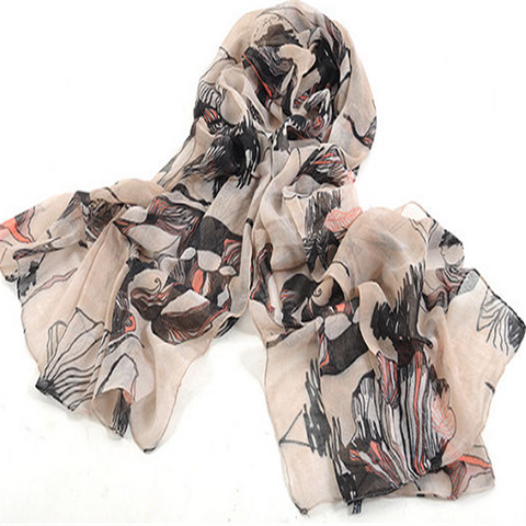 Classical Ink Hand-Painted Begonia Flower Printed Scarf Shawl