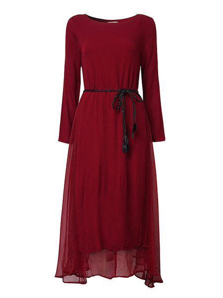 Vintage Women Fake Two Pieces Long Sleeve Pure Color Long Maxi Dress
