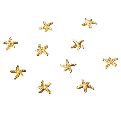 10Pcs Starfish Nail Art Decorations Metal Alloy Gold Silver 3D DIY