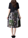 Random Printed Baggy Vintage Dress Short Sleeve Dress For Women