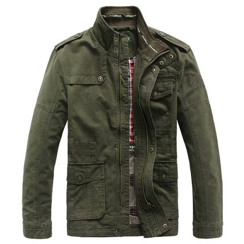 Jeep Rich Men's Fall Winter Warm Outwear Stand Collar Casual Cotton Jacket