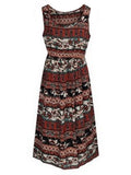 Women Bohemian Printed Sleeveless O Neck Maxi Dress Summer Beach Dress