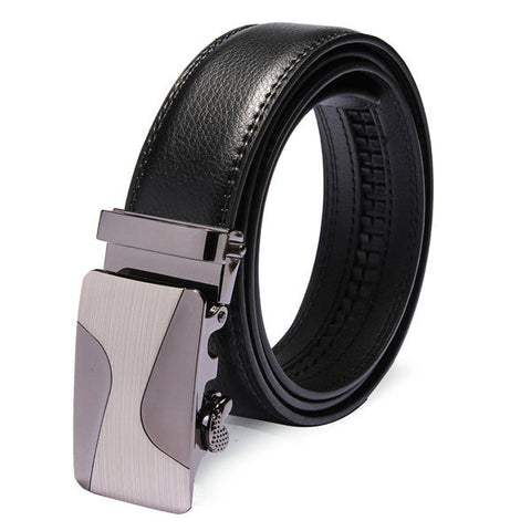 120cm Adjustable Cowhide Leather Automatic Buckle Black Business Leisure Belt - shechoic.com