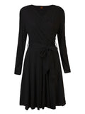 Women Long Sleeve V Neck Cross Knitting Big Swing Dress
