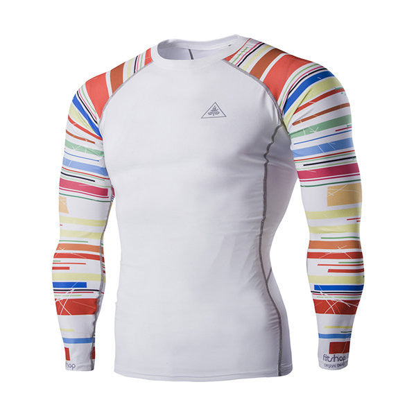 Rainbow Stripe Quick-Dry Tight Bodybuilding Sport Water-Resistant Long Sleeve T-Shirt For Men