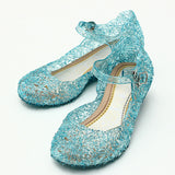 Frozenly Elsa Princess Crystal Hole Sandals Girls Cosplay Girl Shoes Blue