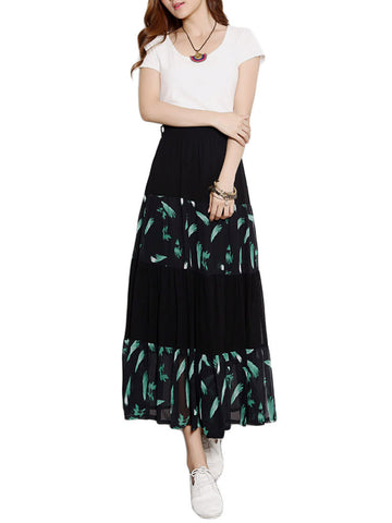 Elegant Women Chiffon Patchowrk Printed Elastic Waist Pleated Maxi Skirt
