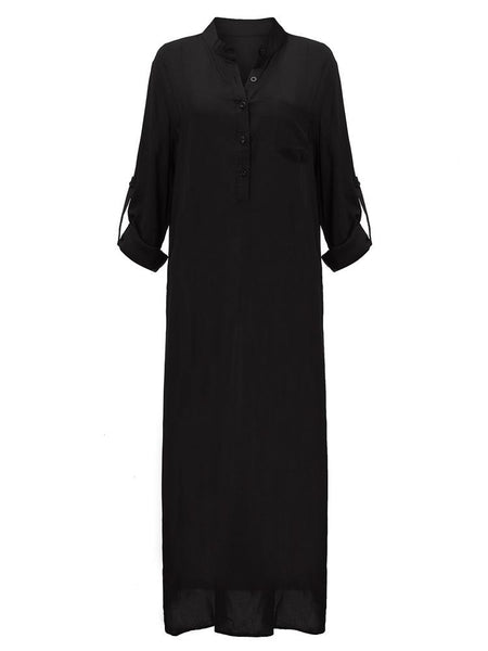 Brief Women Pocket Solid Long Sleeve O-neck Button Maxi Dress