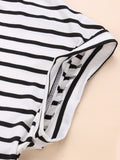 Women Short Sleeve Stripe V Neck Sexy Mini Dress
