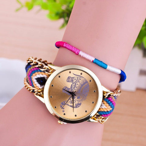 Elephant Pattern Weaved Rope Band Bracelet Watch
