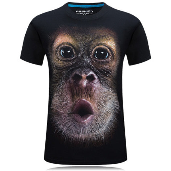 Casual 3D Chimpanzee Printing Solid Color Plus Size T-shirt Personality Short Tees For Men