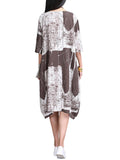 Women Short Sleeve Painting Printed High Low Vintage Loose Dress