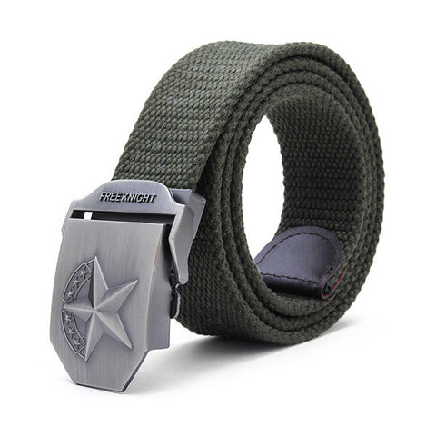 140cm Five-Pointed Star Extended Thickening Canvas Weaving Buckle Belt - shechoic.com