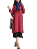 Vintage Women Long Sleeve O Neck Fake Two Piece Embroidery Cotton Linen Dress