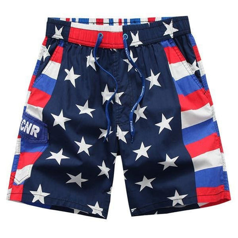 Cool Summer Shorts Quick Dry Casaul Stars Printing Beach Shorts For Men