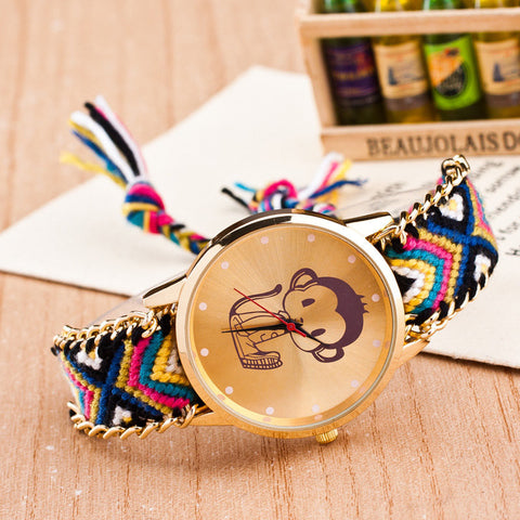Handmade Braided Monkey Bracelet Watch