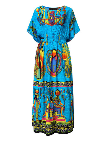 Bohemian Women Short Sleeve High Waist Printed Long Maxi Dress - shechoic.com
