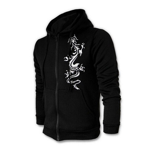 Men's Fashion Chinese Style Zipper Slim Dragon Printed Large Size Hoodies