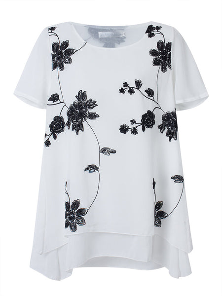 Women Short Sleeve O Neck Floral Printed Irregular Hem Chiffon T-shirt