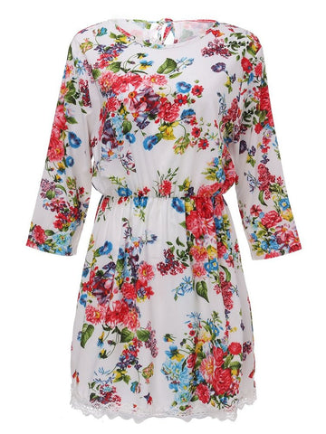 Elegant Women Floral Printed 3/4 Sleeve Lace Patchwork High Waist Round Neck Dress