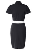 Women Short Sleeve Stand Collar Contrast Color Slim Dress