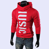 Men's Stylish Letters Printed Slim Fit Cotton Hoodies Three Colors