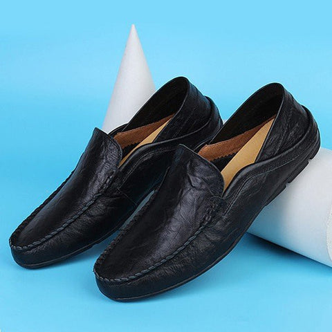 Big Size Men Leather Pure Color Breathable Slip On Casual Business Flat Shoes