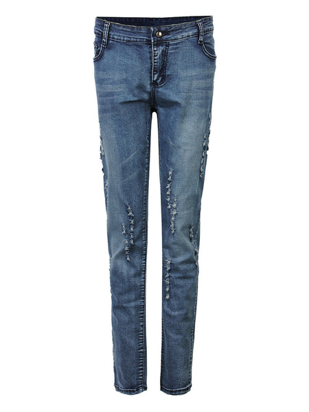 Casual Solid Ripped Skinny Denim Pants For Women