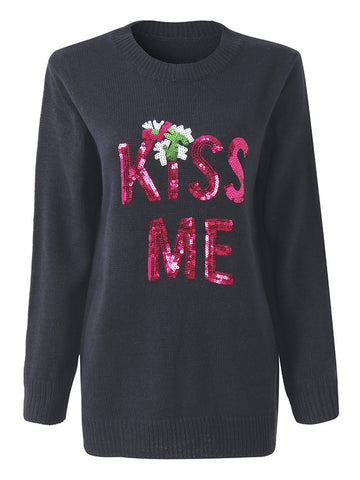 Women Christmas Printed Long Sleeve Sequins Pullover Sweater