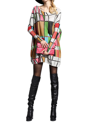 Elegant Printing Plaid Loose Pullover Knitted Mid-Long Sweater Dress Long Sleeve For Women