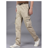 Mens Large Size Military Multi Pockets Loose Fit Cargo Long Pants