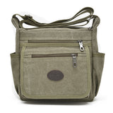 Men Women Canvas Casual Zipper Multi Pockets Shoulder Crossbody Bag