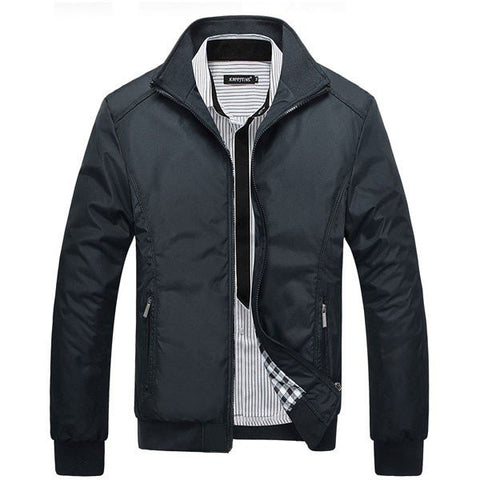 Men's Fall Winter Casual Jacket Solid Color Stand Collar Jacket Coat