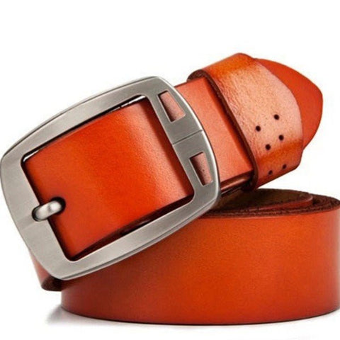 115cm Men's Jeans Pin Buckle Leisure Cowhide Leather Belt - shechoic.com