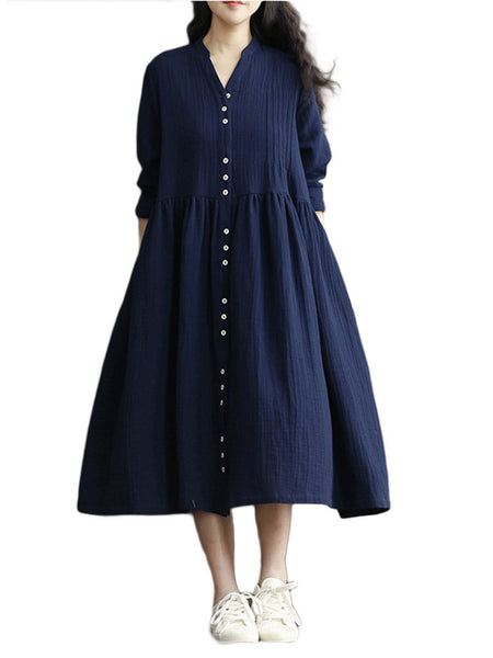 Women Cotton Linen Bat Sleeve Pure Color Long Dress