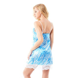 Women Sexy Spaghetti Strap Lace Hem Nightdress Blue Printing Satin Nightgown