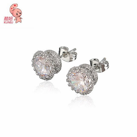 18K White Gold Crystal CZ Diamond Stud Earring