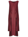 Vintage Women Sleeveless O Neck Solid Loose Casual Long Maxi Dress