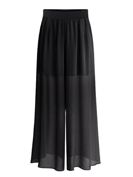 Women Solid Elastic Waist Chiffon Palazzo Pants For Women