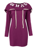 Sport Letter Printed Long Sleeve Drawstring Hooded Pencil Dress