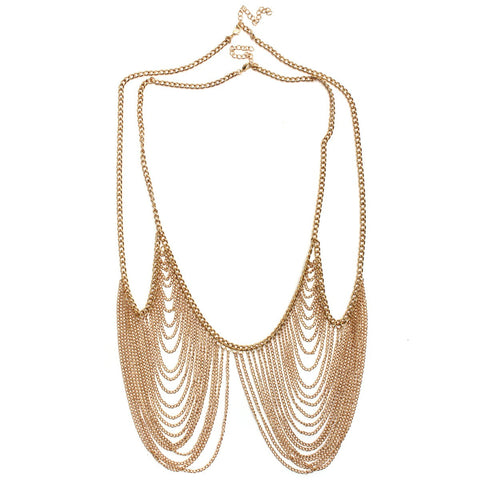 Multilayer Sexy Tassel Bra Metal Chain Body Jewelry
