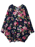 Vintage Floral Printed Asymmetry Hem Long Sleeve Loose Cotton Linen Dress