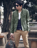 Men's Fashion Outer Spring Fall Brief Style Slim Fit Casual Cotton Jacket