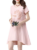Chinese Style Embroidery Short Sleeve O-Neck Irregular Mini Dress For Women