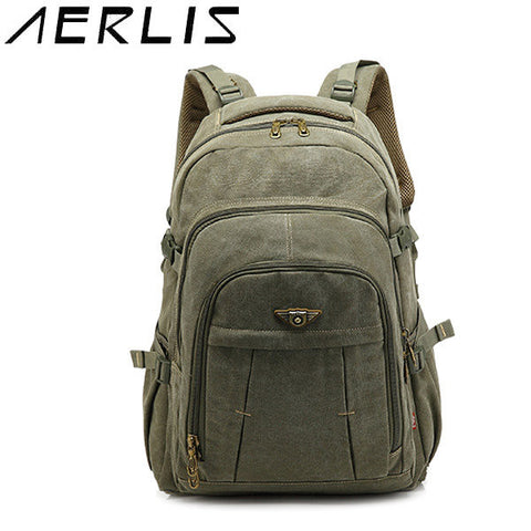 AERLIS Men Retro Canvas School Mochila Leisure Outdoor Sport Military Capacity Backpack - shechoic.com