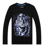 Men's Unique 3D Printed Noctilucent Tiger Cotton Long Sleeve T-shirts