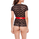 Sexy Lace Cardigan Hollow Out Babydoll See Through Nightdress For Women