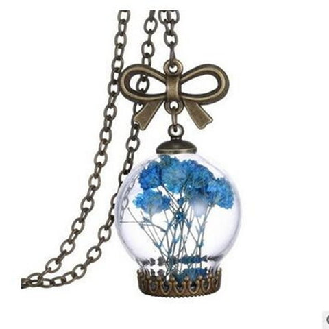 Wish Glass Bottle Dried Flower Sweater Necklace